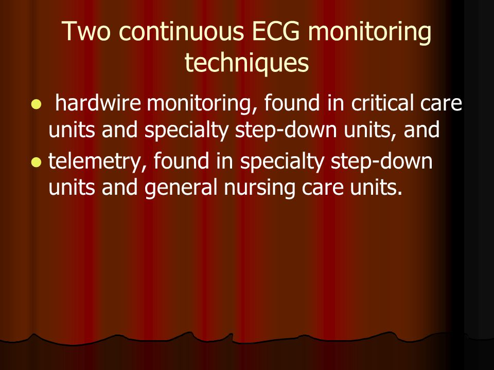 Two continuous ECG monitoring techniques