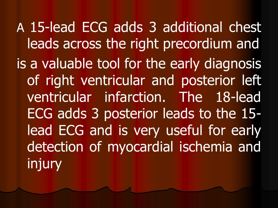 A 15-lead ECG adds 3 additional chest leads across the right precordium and