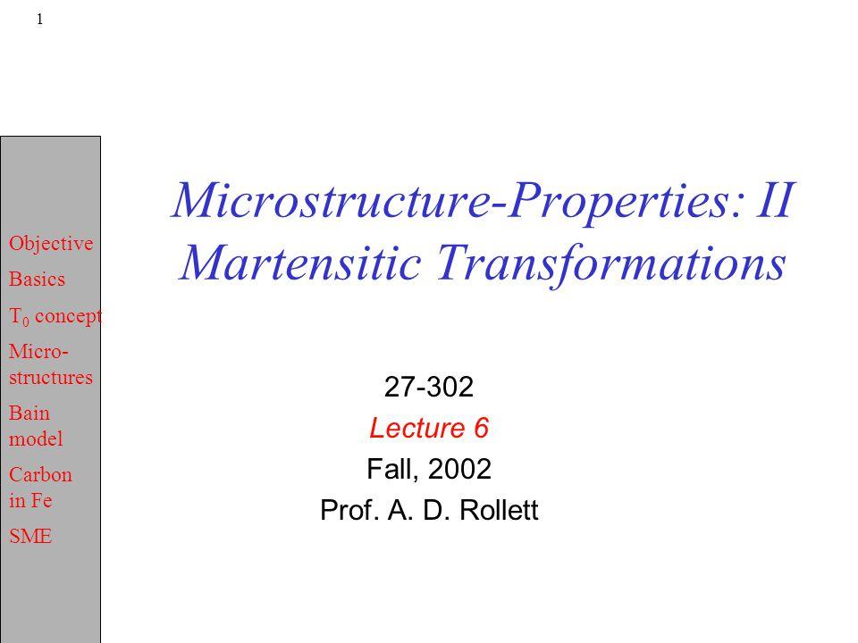 Microstructure-Properties: II Martensitic Transformations