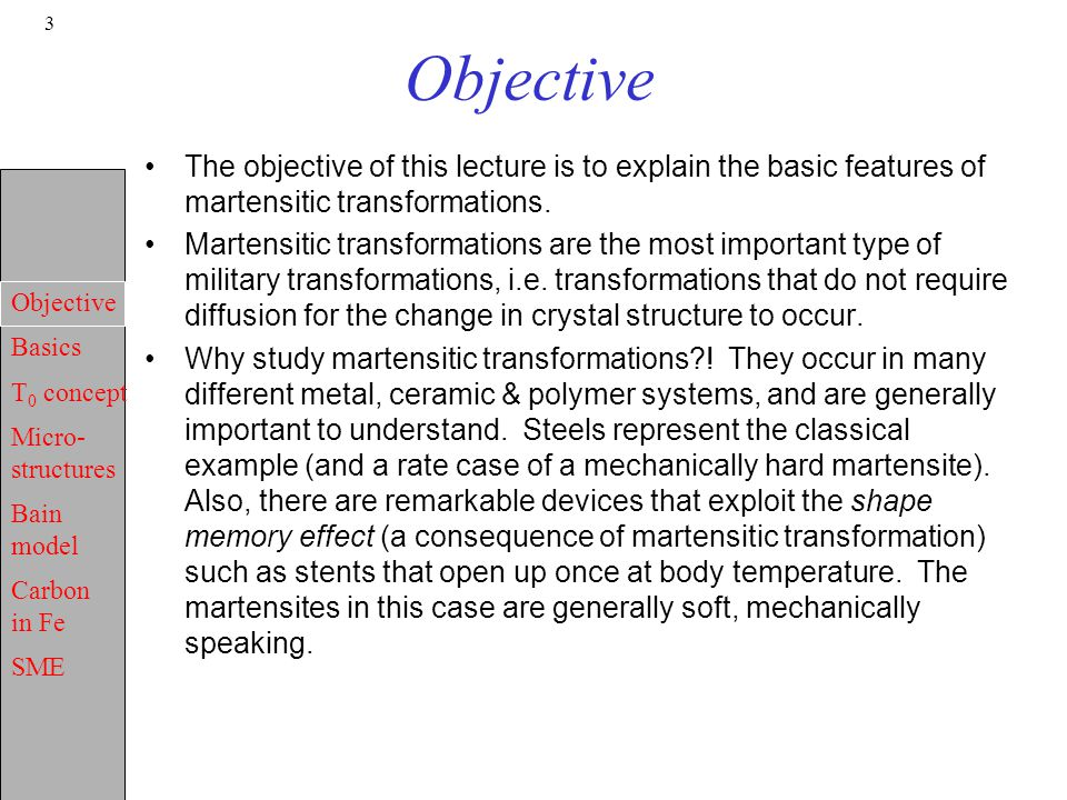 Objective The objective of this lecture is to explain the basic features of martensitic transformations.