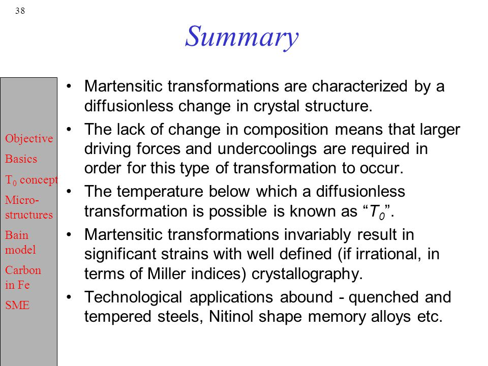Summary Martensitic transformations are characterized by a diffusionless change in crystal structure.