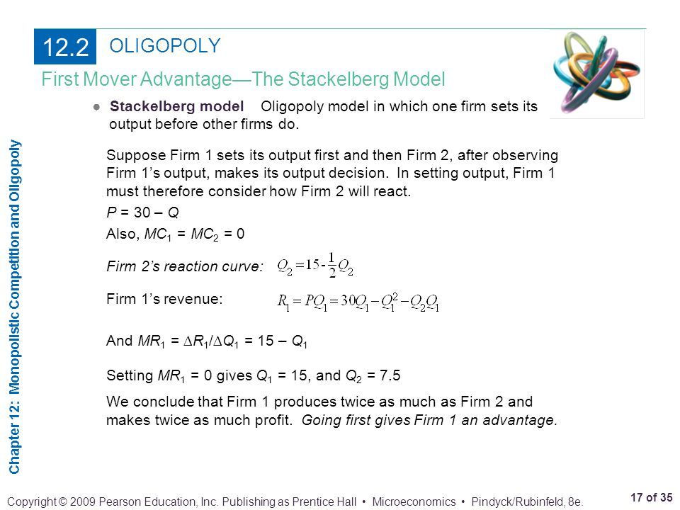 12.2 OLIGOPOLY First Mover Advantage—The Stackelberg Model