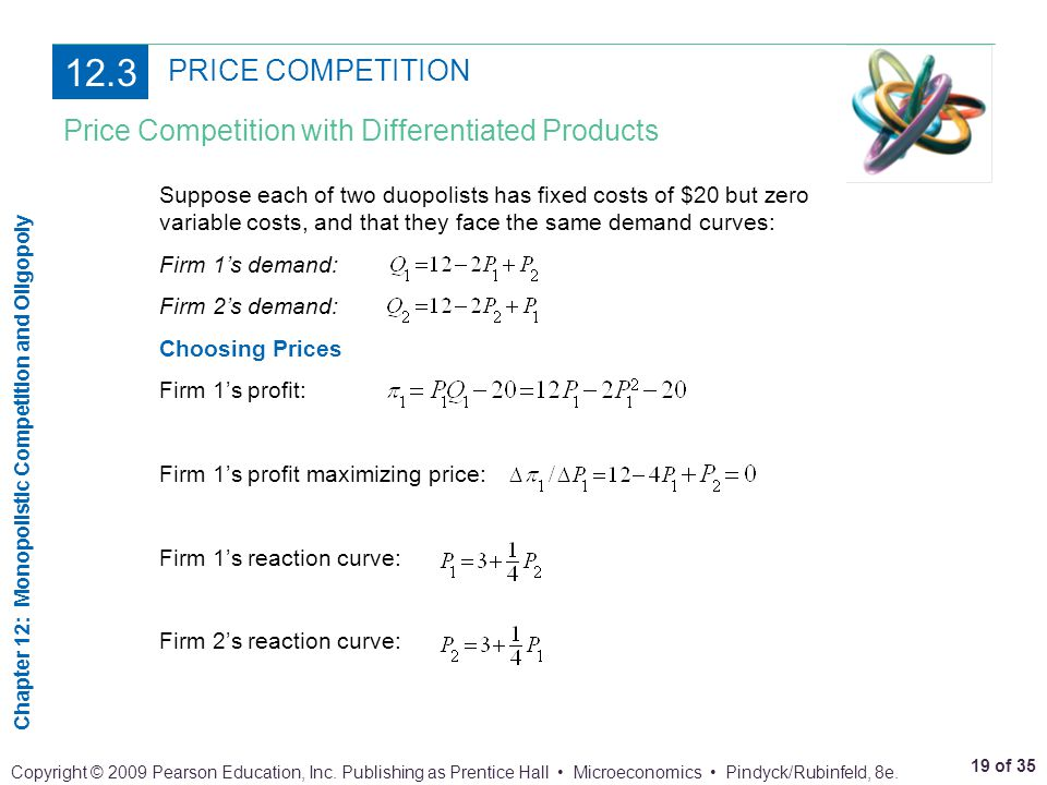 12.3 PRICE COMPETITION Price Competition with Differentiated Products