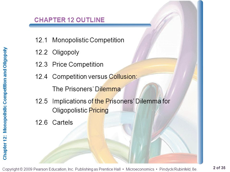 CHAPTER 12 OUTLINE 12.1 Monopolistic Competition. 12.2 Oligopoly. 12.3 Price Competition. 12.4 Competition versus Collusion: