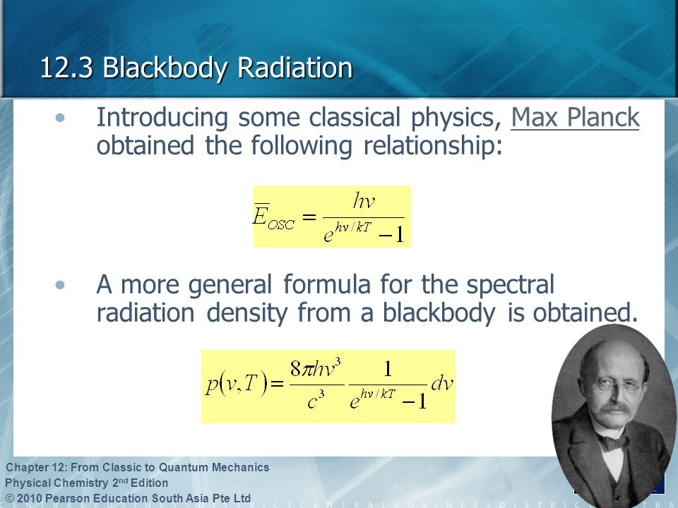 12.3 Blackbody Radiation Introducing some classical physics, Max Planck obtained the following relationship:
