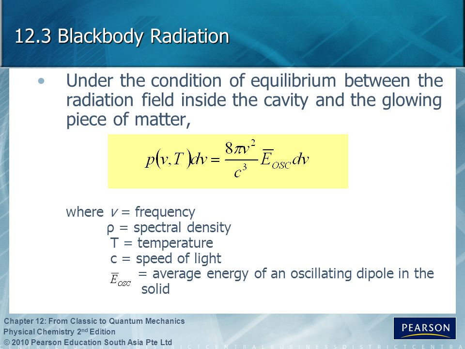 12.3 Blackbody Radiation Under the condition of equilibrium between the radiation field inside the cavity and the glowing piece of matter,