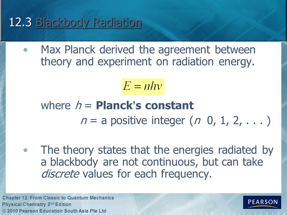 12.3 Blackbody Radiation Max Planck derived the agreement between theory and experiment on radiation energy.