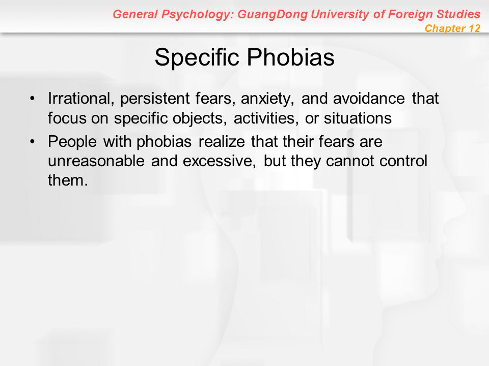 Specific Phobias Irrational, persistent fears, anxiety, and avoidance that focus on specific objects, activities, or situations.