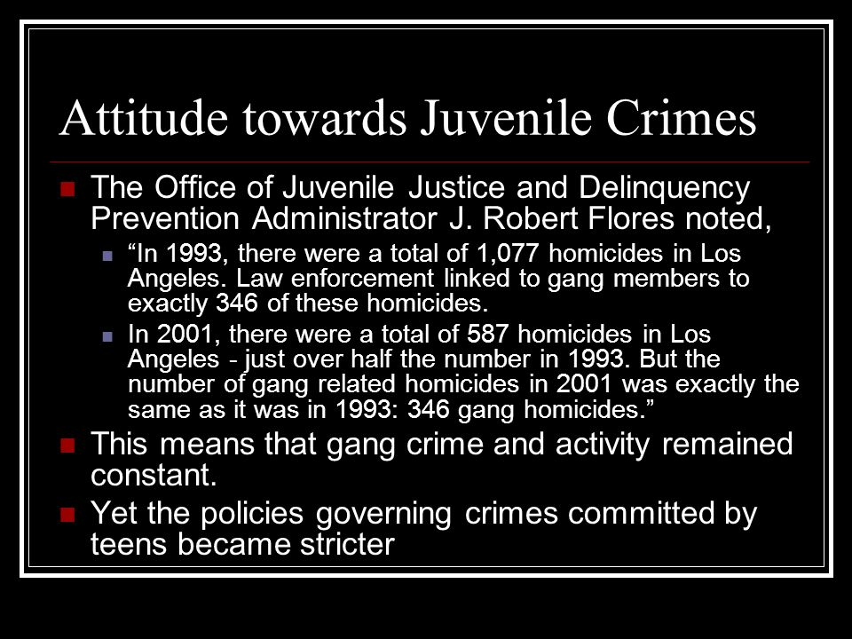 Attitude towards Juvenile Crimes