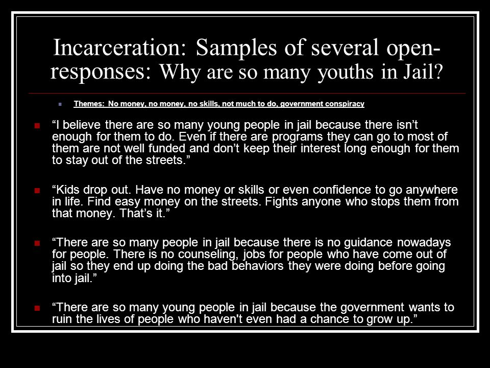 Incarceration: Samples of several open-responses: Why are so many youths in Jail