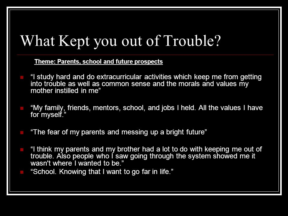 What Kept you out of Trouble
