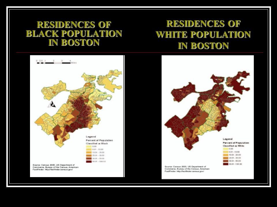 RESIDENCES OF BLACK POPULATION IN BOSTON