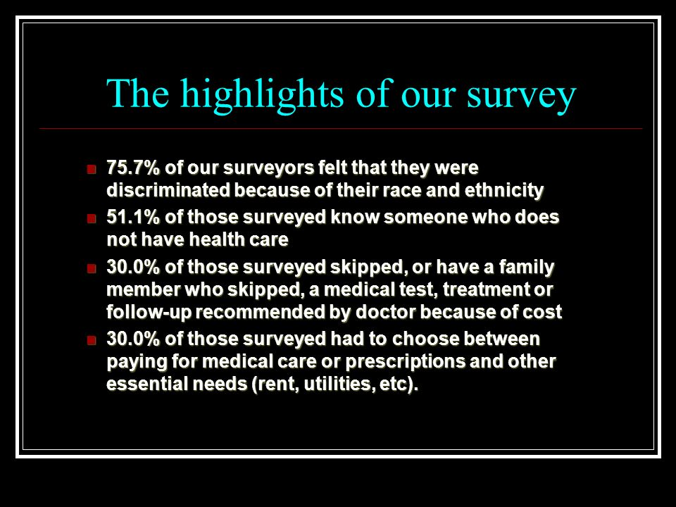 The highlights of our survey