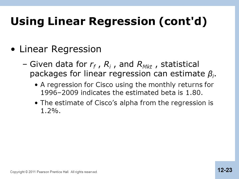 Using Linear Regression (cont d)