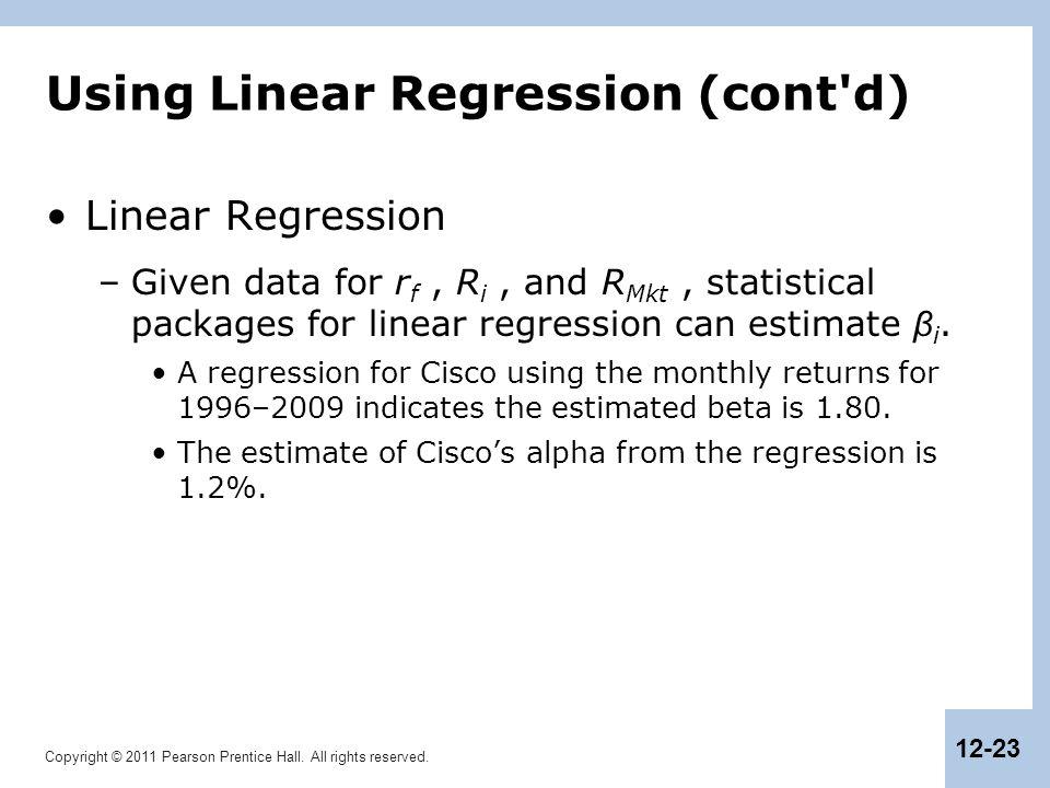 Using Linear Regression (cont d)