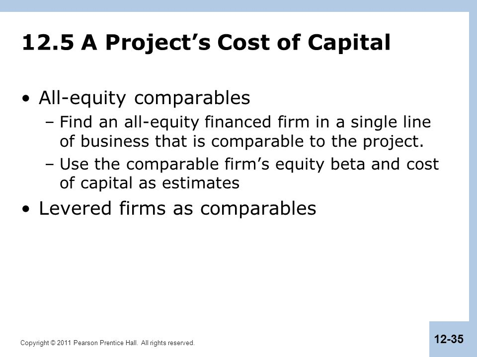 12.5 A Project's Cost of Capital