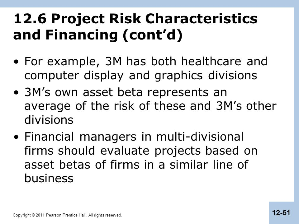 12.6 Project Risk Characteristics and Financing (cont'd)