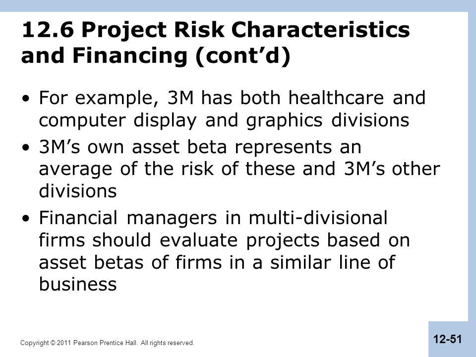 12.6 Project Risk Characteristics and Financing (cont'd)