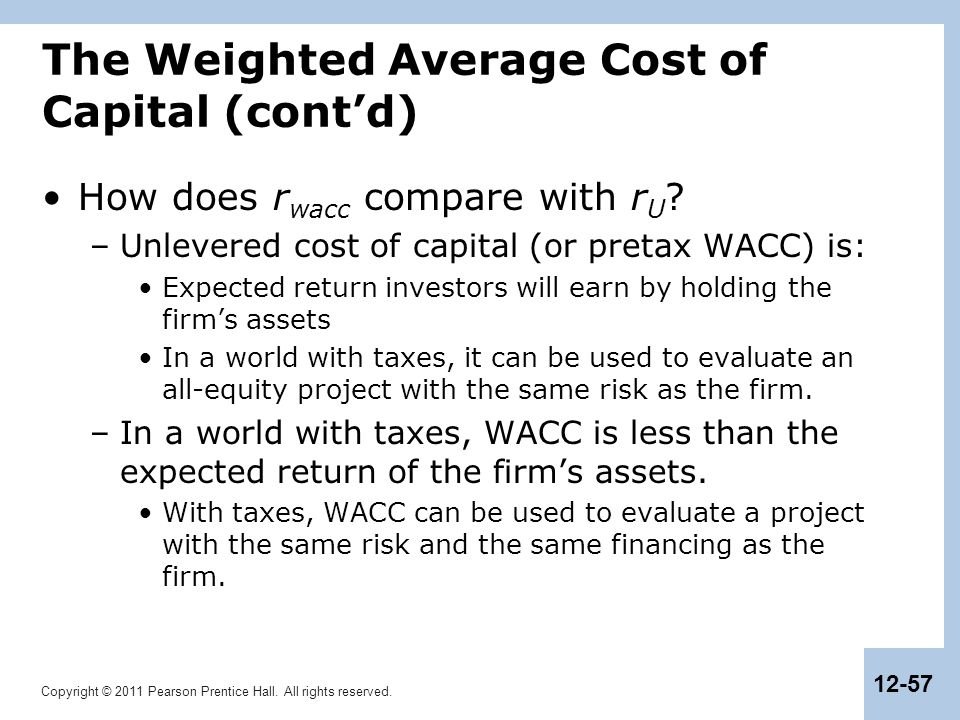 The Weighted Average Cost of Capital (cont'd)