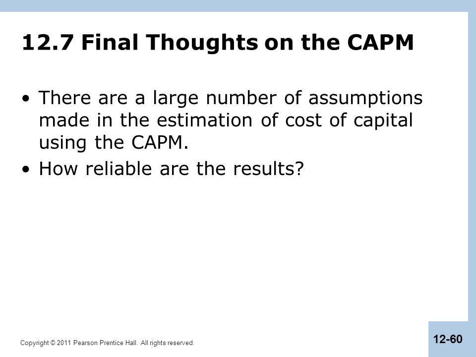 12.7 Final Thoughts on the CAPM