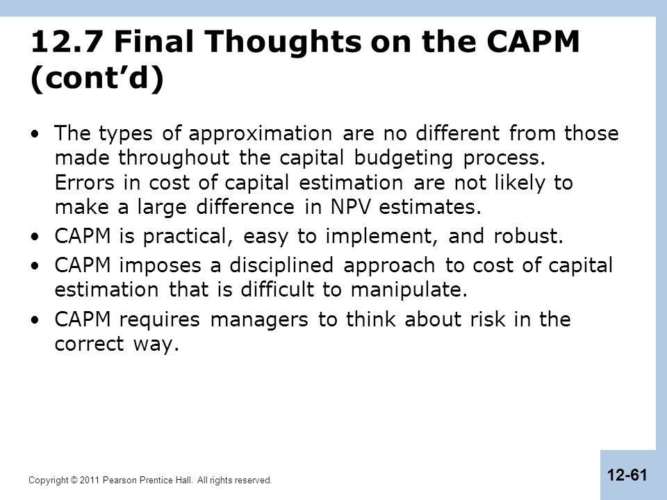 12.7 Final Thoughts on the CAPM (cont'd)