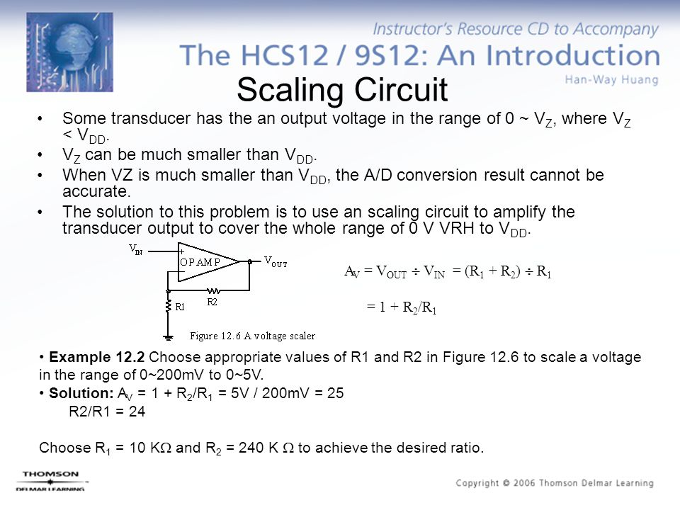Scaling Circuit Some transducer has the an output voltage in the range of 0 ~ VZ, where VZ < VDD. VZ can be much smaller than VDD.