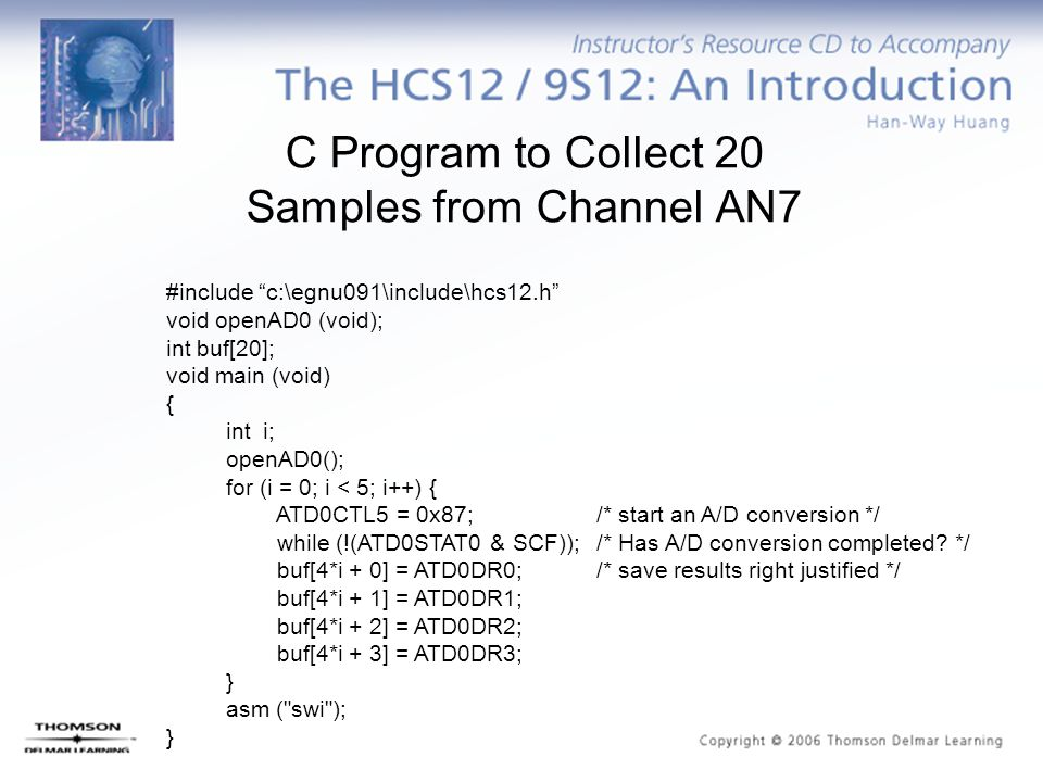 C Program to Collect 20 Samples from Channel AN7