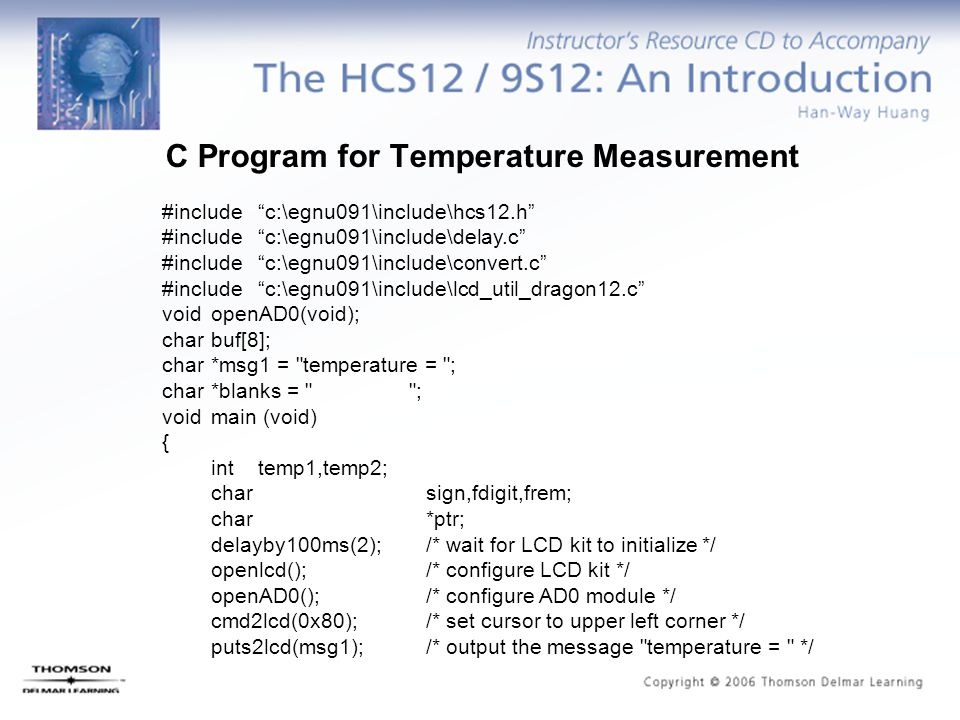 C Program for Temperature Measurement