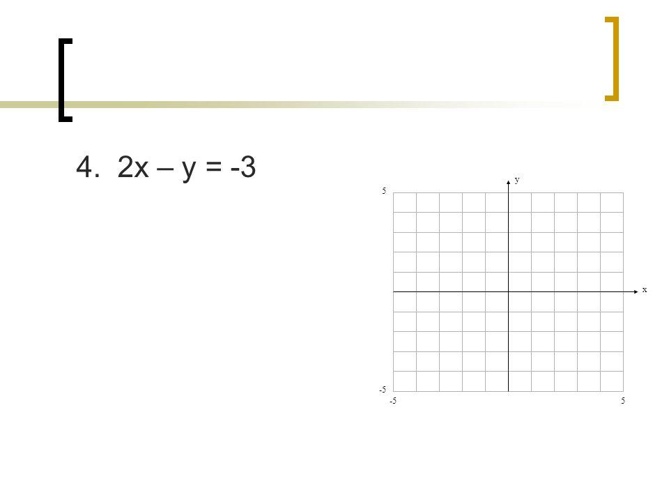 4. 2x – y = -3 y x 5 -5