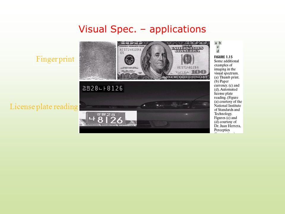Visual Spec. – applications