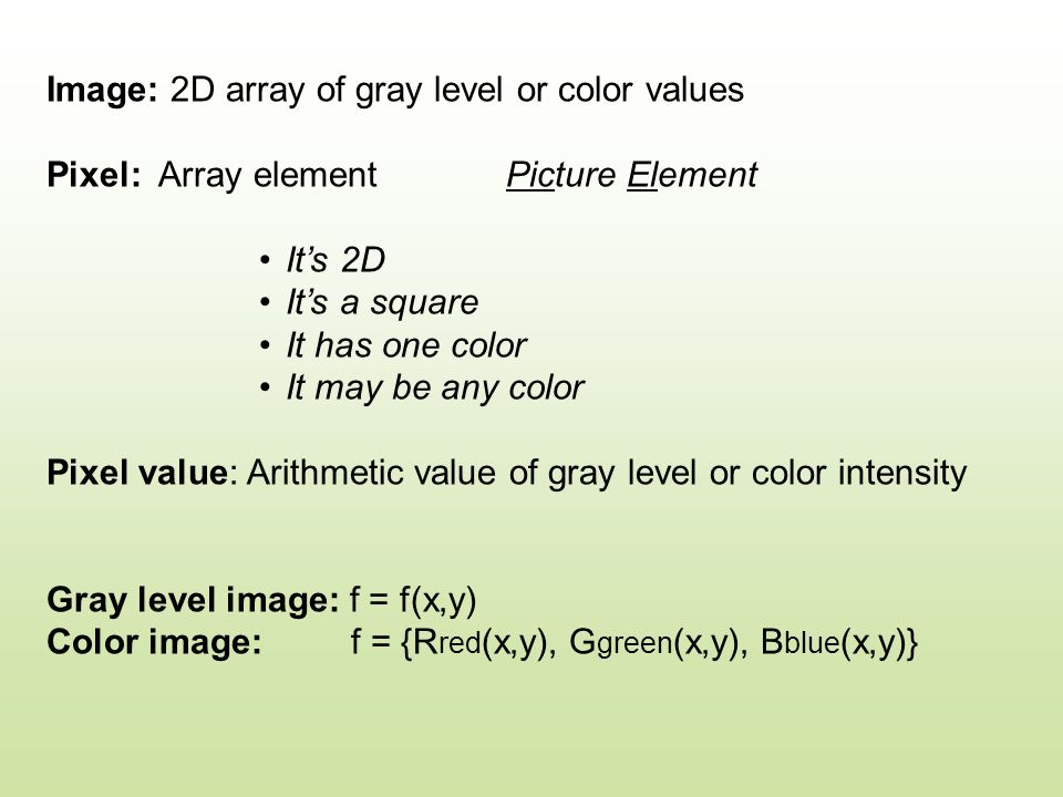 Image: 2D array of gray level or color values