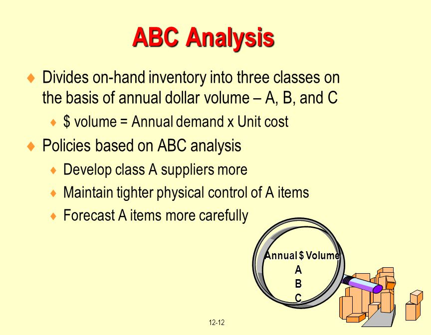 ABC Analysis Divides on-hand inventory into three classes on the basis of annual dollar volume – A, B, and C.