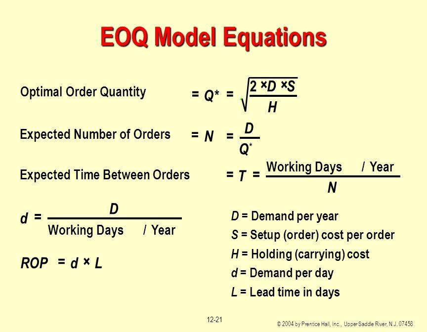 EOQ Model Equations = × N D Q* T d ROP L S H 2 Optimal Order Quantity