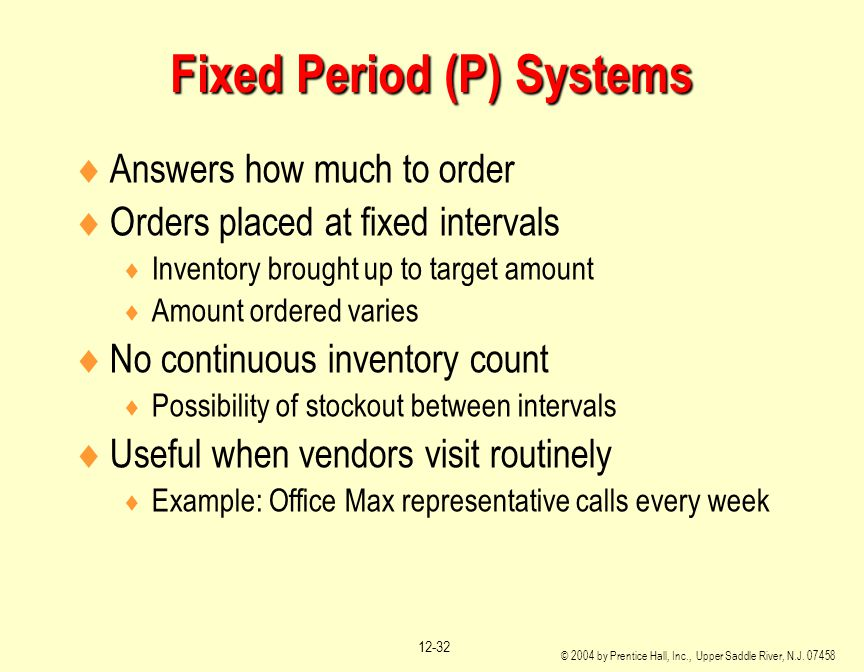 Fixed Period (P) Systems