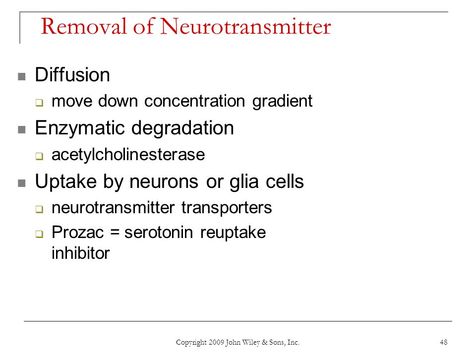 Removal of Neurotransmitter