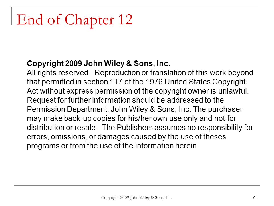 Copyright 2009 John Wiley & Sons, Inc.