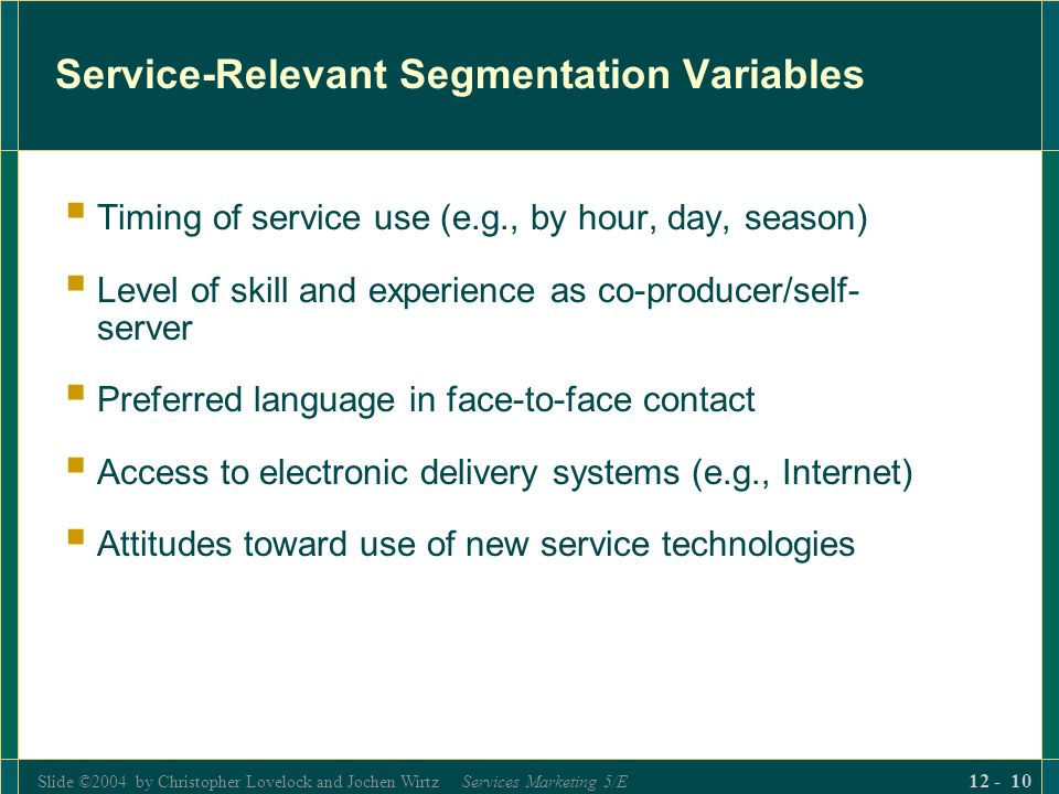 Service-Relevant Segmentation Variables