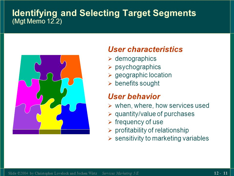 Identifying and Selecting Target Segments (Mgt Memo 12.2)