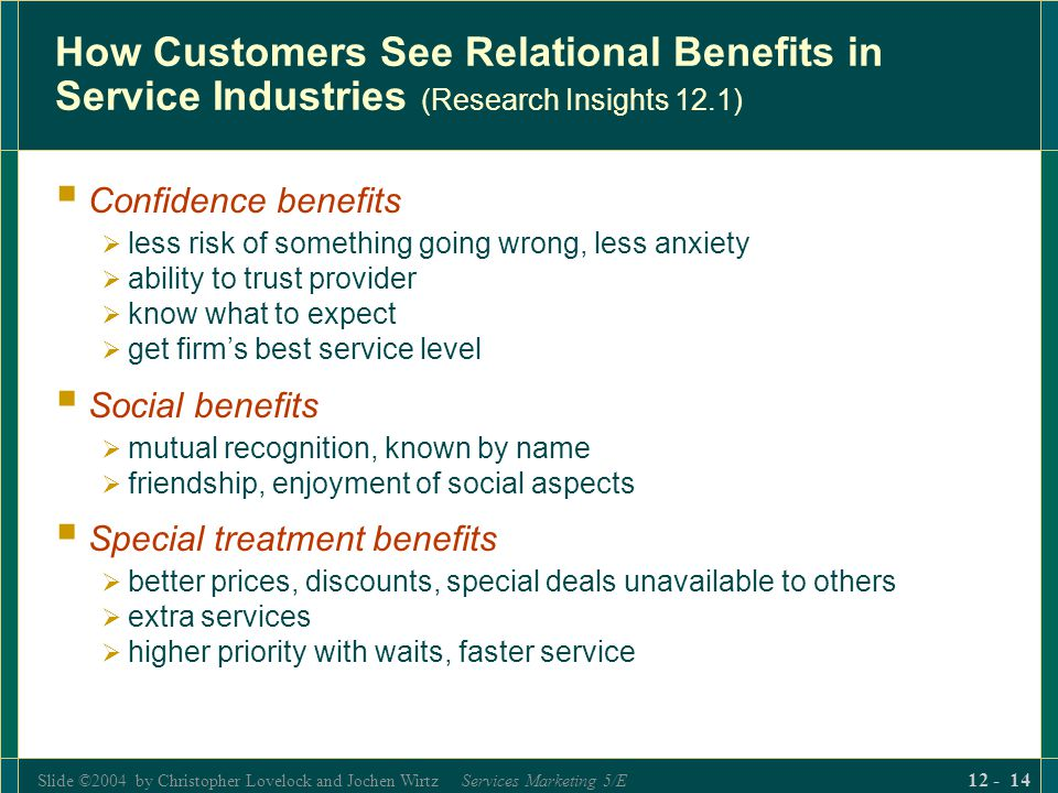 How Customers See Relational Benefits in Service Industries (Research Insights 12.1)