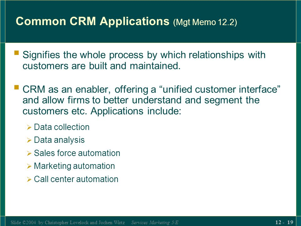 Common CRM Applications (Mgt Memo 12.2)