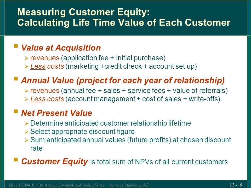 Measuring Customer Equity: Calculating Life Time Value of Each Customer