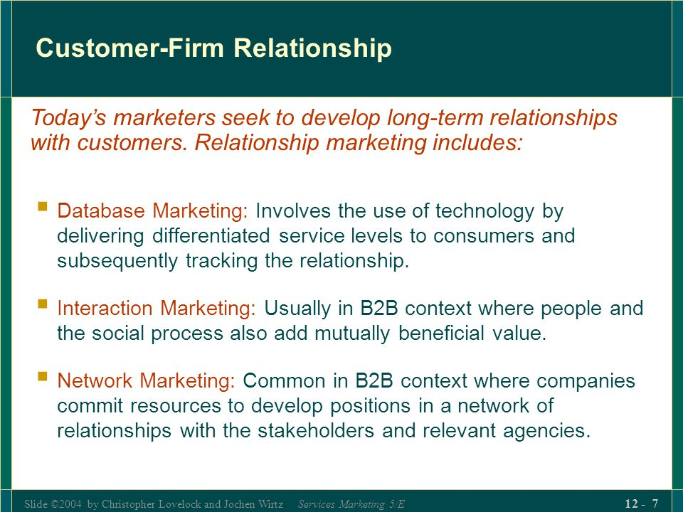 Customer-Firm Relationship