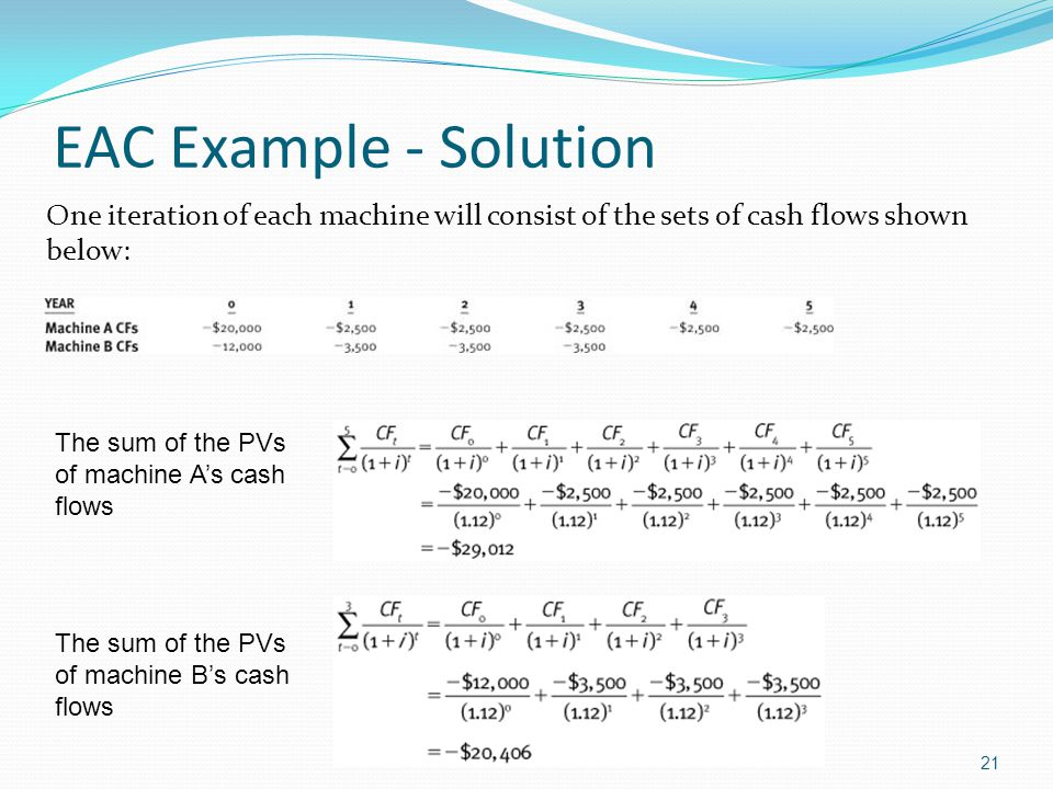EAC Example - Solution One iteration of each machine will consist of the sets of cash flows shown below: