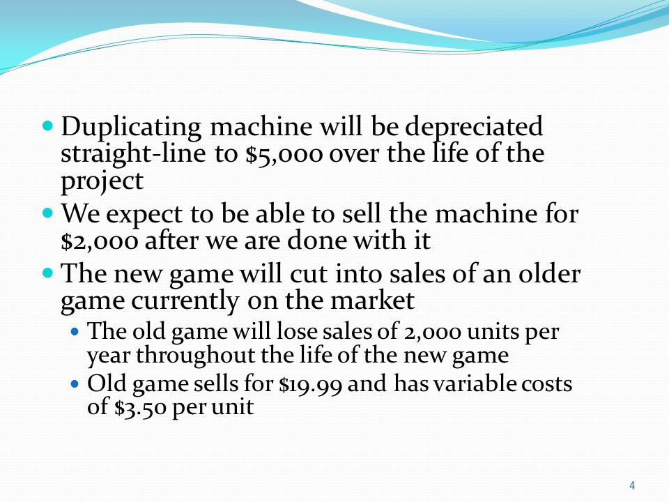 Duplicating machine will be depreciated straight-line to $5,000 over the life of the project