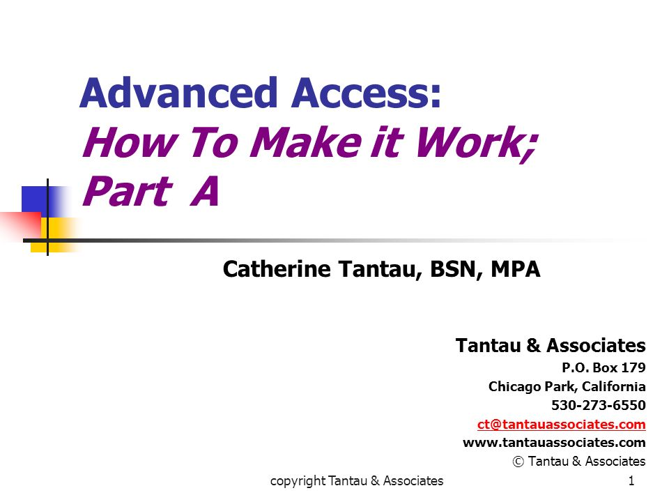 Advanced Access: How To Make it Work; Part A
