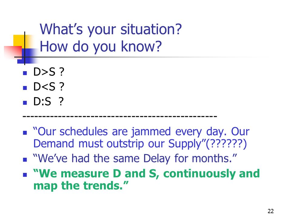 What's your situation How do you know