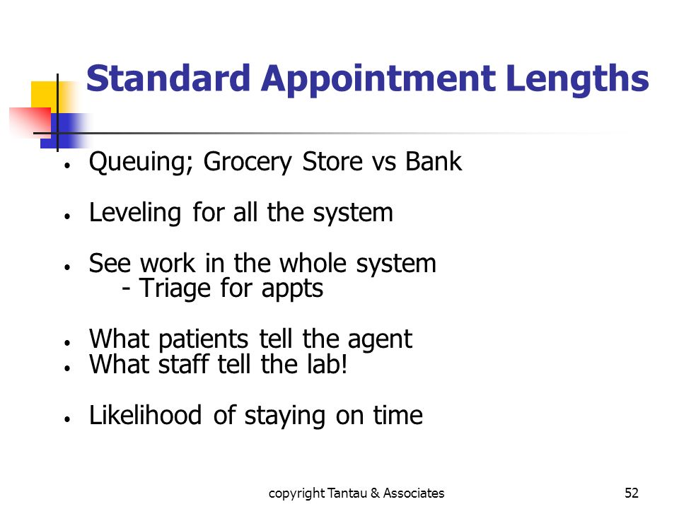 Standard Appointment Lengths