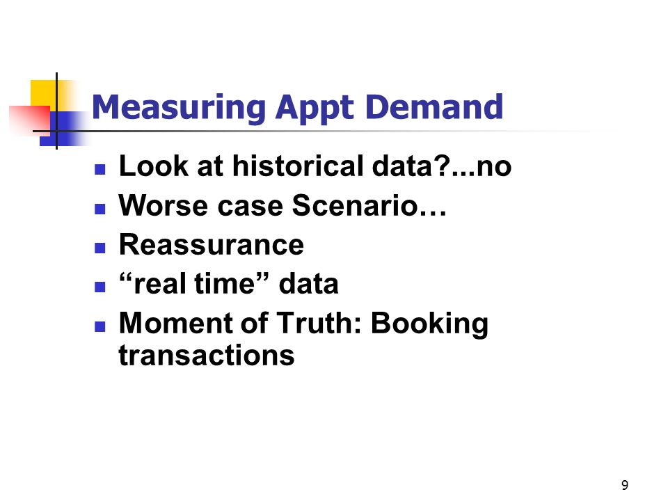 Measuring Appt Demand Look at historical data ...no