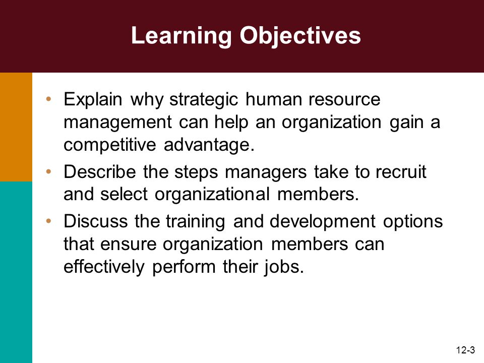 Learning Objectives Explain why strategic human resource management can help an organization gain a competitive advantage.