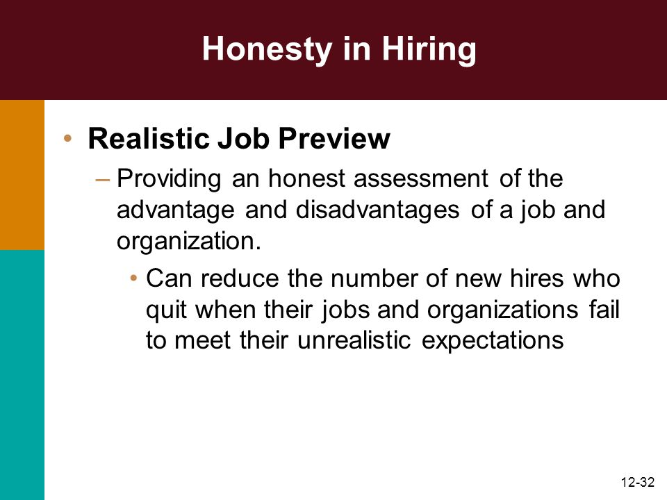 Honesty in Hiring Realistic Job Preview